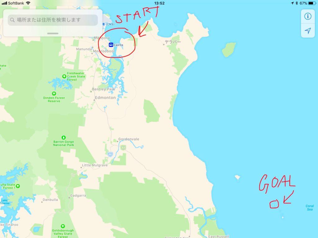【MAP1 ケアンズとノーマンビー島の位置関係】